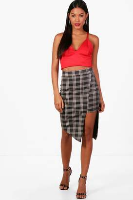 boohoo Lily Asymetric Step Hem Checked Midi Skirt
