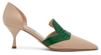 Prada D'orsay Patent Leather Pumps - Womens - Green Multi