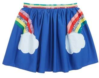 Boden Mini Sequin Applique Rainbow Skirt