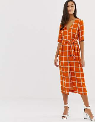 Miss Selfridge midi wrap dress in check