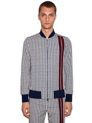 Valentino Optical Print Zip-Up Wool Jacket