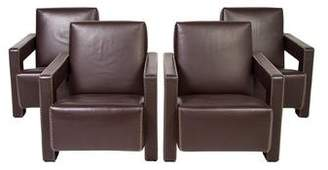 Cassina Set of 4 Utrecht Leather Chairs