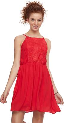 Juniors' Lily Rose Crochet Bodice Skater Dress