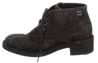 Chanel Distressed Lace-Up Ankle Boots