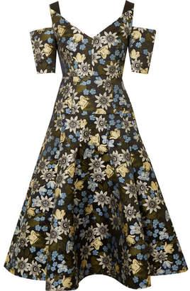 Erdem Yamal Cold-shoulder Floral-jacquard Midi Dress - Black