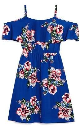 Aqua Girls' Floral-Print Cold-Shoulder Dress, Big Kid - 100% Exclusive