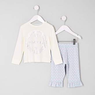 River Island Mini girls White 'couture' pyjama set