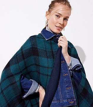 LOFT Plaid Fringe Wrap