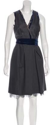 Nina Ricci Velvet-Trimmed Knee-Length Dress Grey Velvet-Trimmed Knee-Length Dress