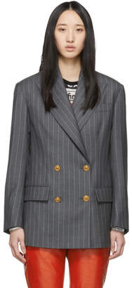 Versace Grey Pinstripe Double-Breasted Blazer