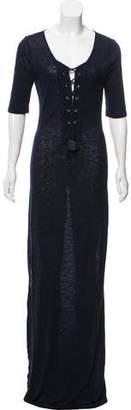 Calypso Linen Short Sleeve Lace-Up Maxi Dress