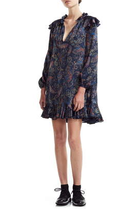 Maje Riley Paisley Long Sleeve Swing Dress
