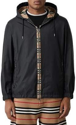 Burberry Men's Nylon Jacket with Signature Vintage Check Trim