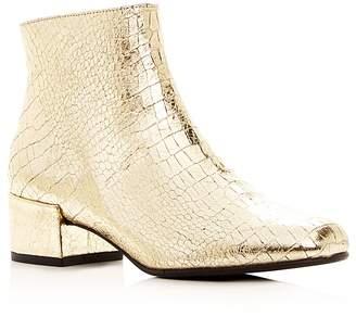 Freda Salvador Women's True Metallic Embossed Leather Mid Heel Booties