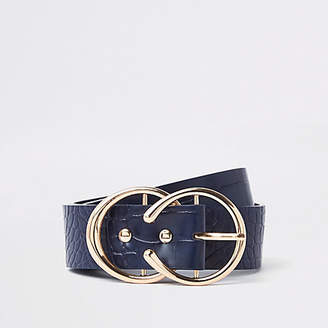 River Island Womens Navy croc embossed double ring horseshoe belt