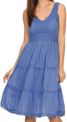 Sakkas KD2155 - Presta Roman Sleeveless Lined Tank Top Dress With Emrboidery Lace Design