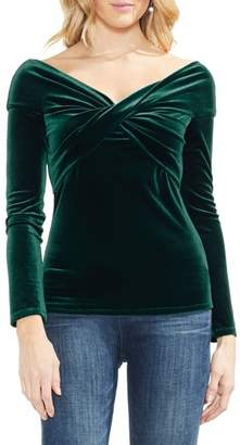 Vince Camuto Cross Front Stretch Velvet Top