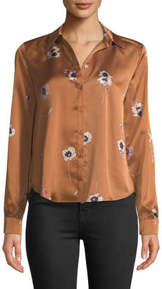 Astr Madison Floral-Satin Button-Front Blouse