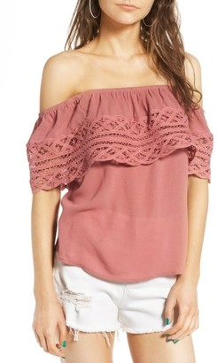 Women's Socialite Crochet Off The Shoulder Top $42 thestylecure.com