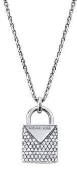 Michael Kors Sterling Silver Pavé Crystal Padlock Pendant Necklace