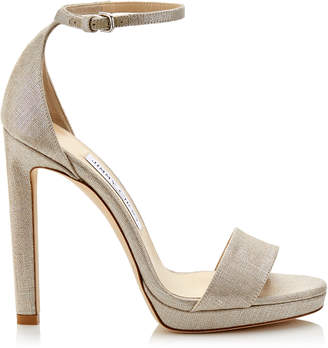 Jimmy Choo MISTY 120 Natural and Silver Metallic Linen Platform Sandals