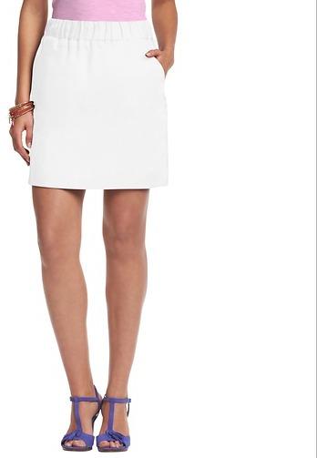 LOFT Elastic Waist Linen Skirt