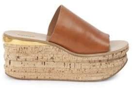 Chloé Cork Leather Platform Wedge Sandals