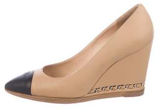Chanel Leather Wedge Pointed-Toe Pumps