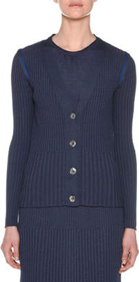 Agnona V-Neck Button-Front Ribbed Cardigan