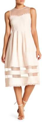 Just Me Sheer Panel Tweed Dress