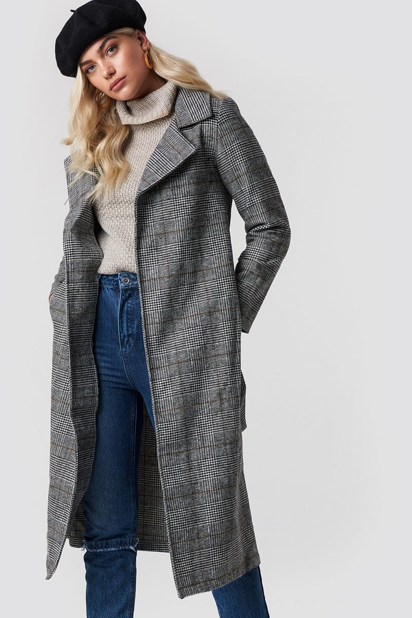 Trendyol Belted Overcoat Gray