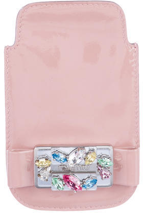 Miu Miu Miu Miu Patent Leather Embellished Phone Holder