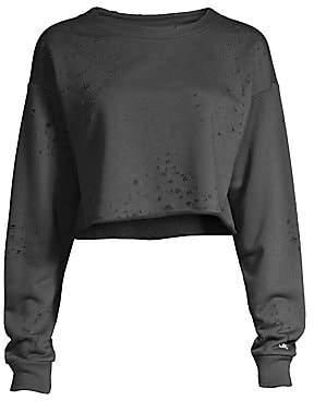 Alo Yoga Women's Fierce Distressed Cropped Sweatshirt