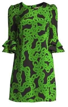 Diane von Furstenberg Women's Louise Chain Print Stretch Shift Dress - Crawling Chain Malachite - Size Small