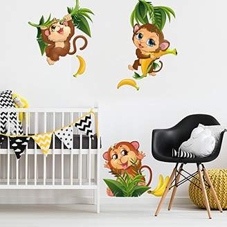 Camilla And Marc Lag3 Wall Art R00367 Wall Stickers for Nursery, Childrens, Monkeys In The Jungle 1, 30 x 120 x 0.1 cm Assorted Colours