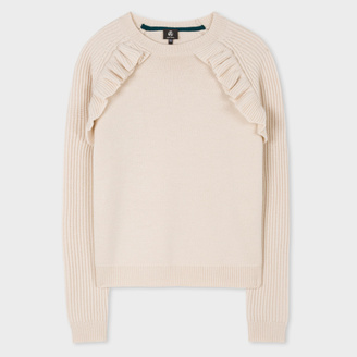 Women's Taupe Wool Sweater With Frill Detailing $370 thestylecure.com