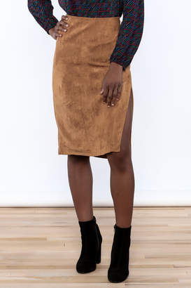 Olivaceous Faux Suede Skirt