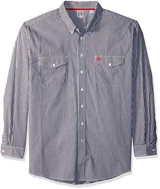 Cinch Men's Classic Fit Long Sleeve Button Two Flap Pocket Stripe Shirt