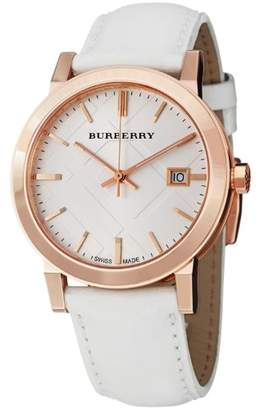 Burberry Men's BU9012 Large Check White Leather Strap Watch