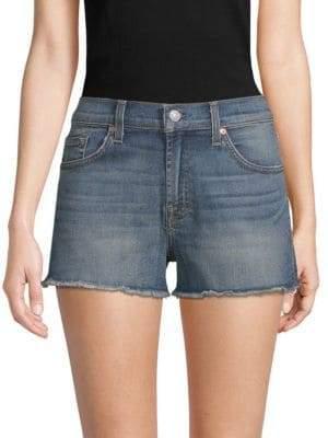 7 For All Mankind Frayed Denim Cut-Off Shorts