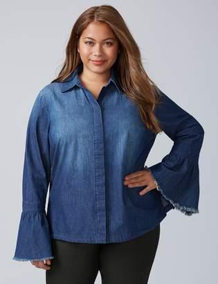 Chambray Bell-Sleeve Shirt