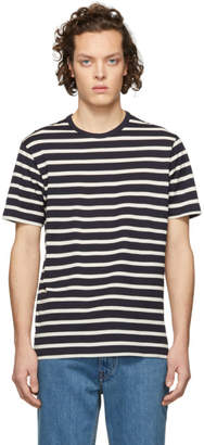 Sunspel Navy and White Classic Breton Stripe Classic T-Shirt