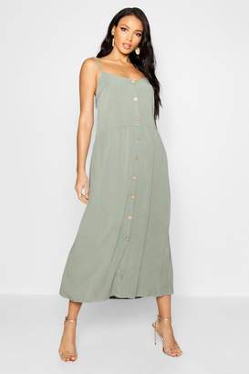 boohoo Horn Button Cami Midaxi Dress