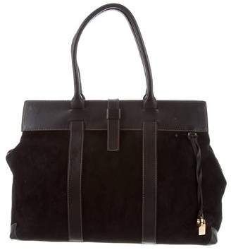 Loro Piana Leather-Trimmed Suede Tote