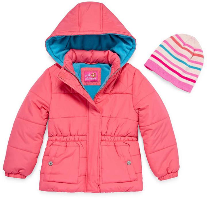 PINK PLATINUM Pink Platinum Heavyweight Diamond Puffer Jacket - Toddler Girls