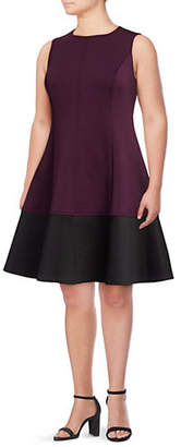 Calvin Klein Plus Two-Tone Fit-and-Flare Dress