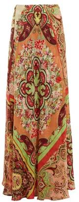 Etro Varo Paisley Print Jacquard Skirt - Womens - Red Print