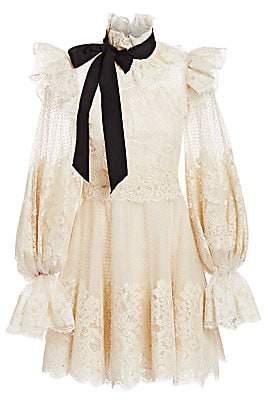 Zimmermann Women's Eye Spy Lace Poet-Sleeve Mini Dress