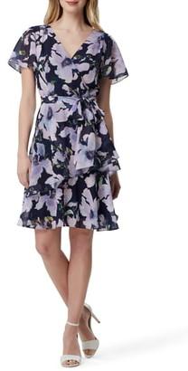 Tahari Floral Print Chiffon Faux Wrap Dress