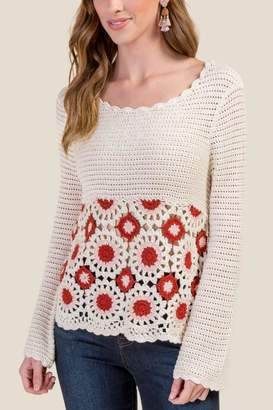 francesca's Marisa Open Crochet Pullover Sweater - Cinnamon